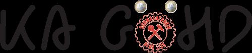"""Logo """"Ka Göhd"""": Schriftzug. Der Buchstabe 'ö' ist durch das Logo der Schmähfabrik, die beiden Punkte durch zwei Ein-Euro-Münzen ersetzt."""